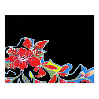 Red Tropical Flowers with Black Design Postcard