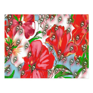 Red Tropical Flowers with Blue Design Postcard
