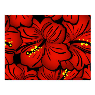 Red Tropical Hawaiian Hibiscus Flower design Postcard