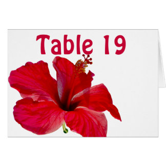 Red  Tropical Hibiscus Assigned Table Numbers Note Card