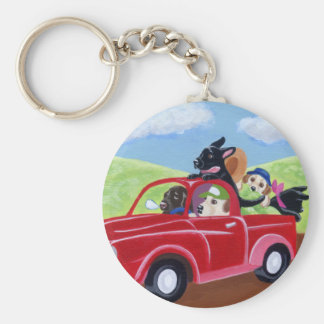Red Truck and Labradors Basic Round Button Key Ring