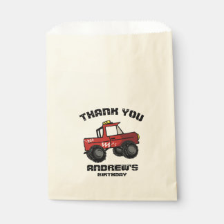 Red Truck Birthday Four Wheeling Fun Monster Truck Favour Bags
