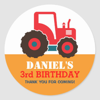 Red Truck Cartoon Kids Birthday Party Sticker