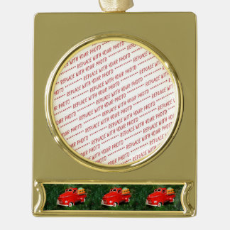 Red Truck Christmas  Ornament (4) Gold Plated Banner Ornament