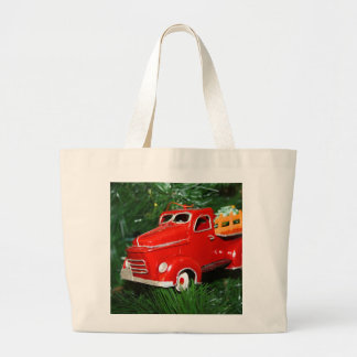 Red Truck Christmas  Ornament (4) Large Tote Bag