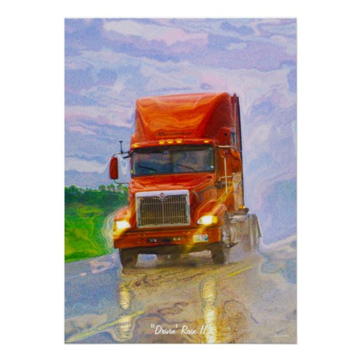 Red Truck Driving in the Rain Art Portait Poster 4