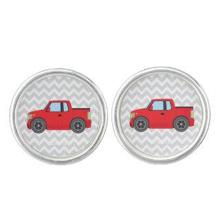Red Truck on Gray and White Chevron Stripes Cufflinks