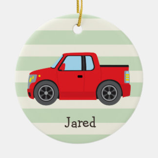 Red Truck; Pastel Green Stripes Christmas Ornament