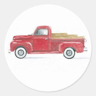 Red Truck Seal Round Sticker
