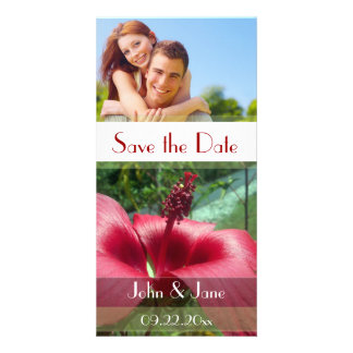 "Red Trumpet Flower /photo  ""Save the Date"" Picture Card"