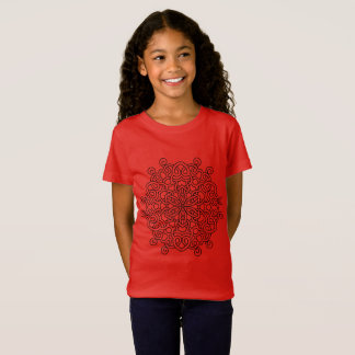 Red tshirt with black mandala