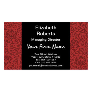 Red Tudor Garden Vintage Floral Pattern Pack Of Standard Business Cards