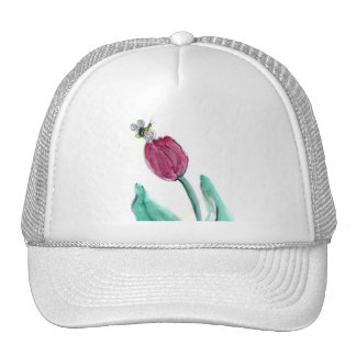 Red Tulip and Bee - Its Spring! Sumi-e in color Hat