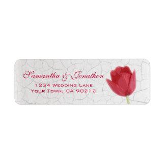 Red Tulip and Crackle Paint Custom Return Address