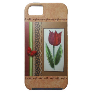 red tulip & butterfly on tan w/accents iPhone 5 cases