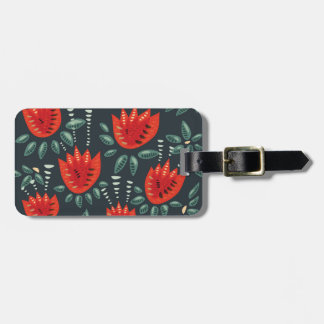 Red Tulip Dark Floral Pattern Luggage Tag