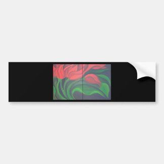 Red Tulip Diptych Bumper Stickers