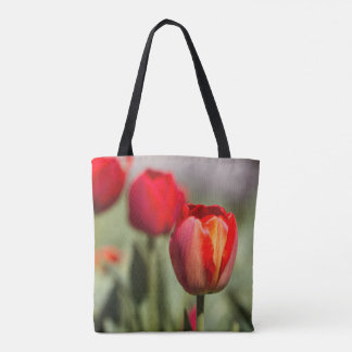 Red Tulip Dual Texture Tote Bag