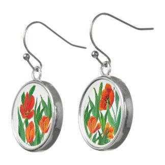 Red Tulip Earrings