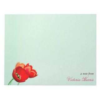 Red tulip floral mint green bokeh style large notepad