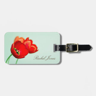 Red tulip floral mint green bokeh style personal luggage tag