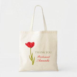 Red tulip flower art wedding bridesmaid bag