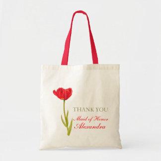 Red tulip flower art wedding maid of honor bag