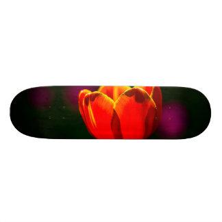 Red tulip flower custom skate board