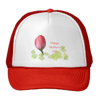 red tulip flower, happy mother's day cap