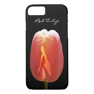 Red Tulip Flower on Black iPhone 7 Case