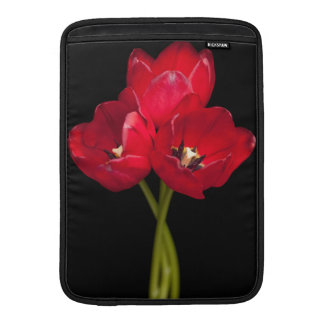 Red Tulip Flowers Black Background Floral Flower MacBook Sleeve
