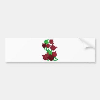 Red Tulip Flowers Original art E L D Bumper Stickers