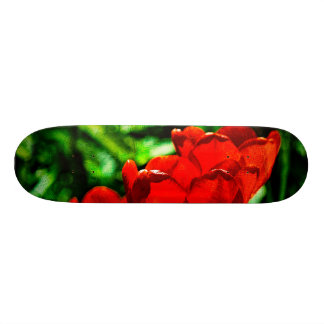 Red tulip flowers skateboard deck