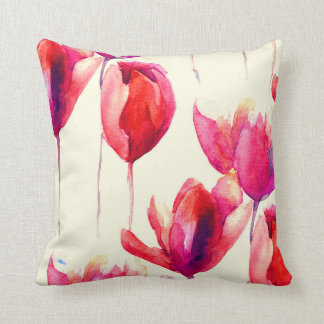 Red Tulip Flowers Watercolor Throw Pillow