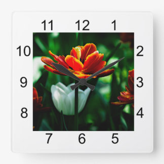Red Tulip - His Majesty the King Square Wall Clock