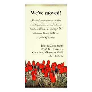 Red Tulip Illustration Change of Address Photocard Customised Photo Card
