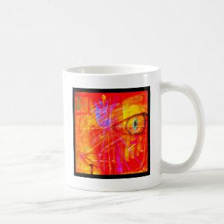 Red Tulip Lady Abstract Art bright red stunning. Basic White Mug
