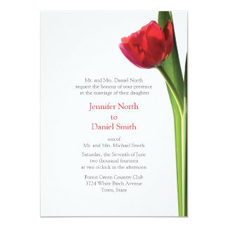 Red Tulip Wedding Invitations Floral Flower Invite