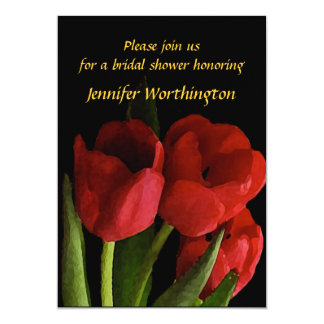 Red Tulips Bridal Shower Card
