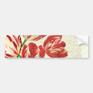 Red Tulips Calligraphy Bumper Sticker