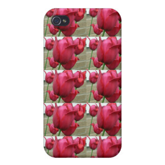 RED TULIPS case Cases For iPhone 4