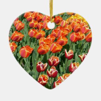 Red tulips ceramic heart decoration