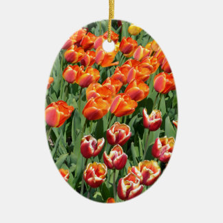 Red tulips ceramic oval decoration