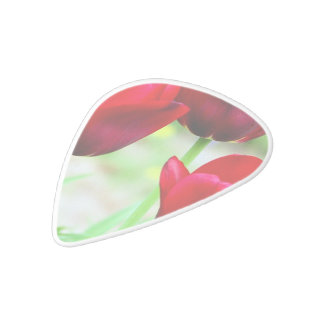 Red Tulips White Delrin Guitar Pick