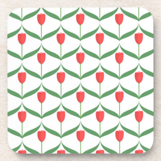 Red Tulips Beverage Coasters