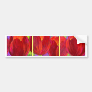 Red Tulips Flowers Art Painting - Multi Bumper Sticker