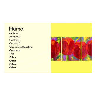 Red Tulips Flowers Art Painting - Multi Pack Of Standard Business Cards