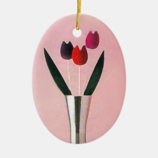 Red tulips flowers ceramic oval decoration