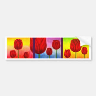 Red Tulips Flowers Painting Art - Multi Bumper Sticker