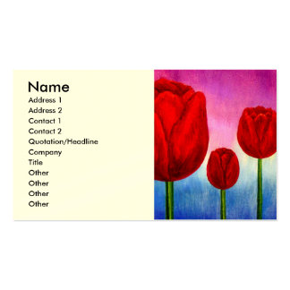 Red Tulips Flowers Painting Art - Multi Pack Of Standard Business Cards